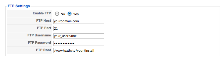 Joomla FTP settings screenshot