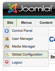 Joomla Global configuration screenshot