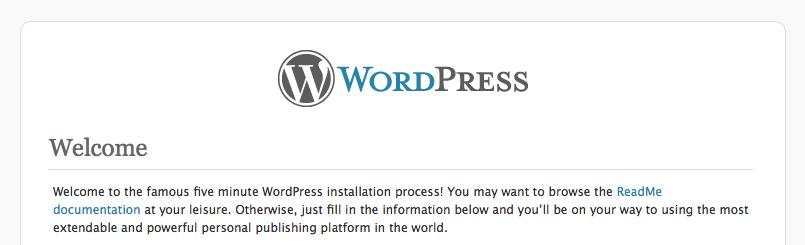 Wordpress install screenshot