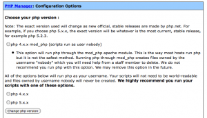 Change php version control panel screenshot